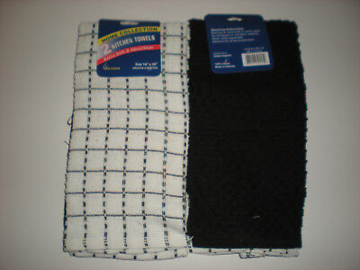 Set of 2 Kitchen Dish Towels - 1 Solid Black & 1 Checked Black & White - NEW - Black And White Checkered Dishes