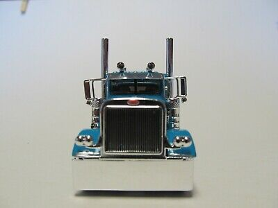 DCP FIRST GEAR 1/64 SCALE 389 PETERBILT FLAT TOP, TEAL WITH BLACK/ SILVER STRIPE 3