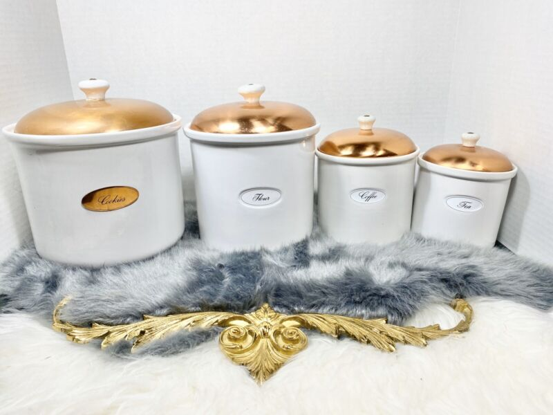 Copper Top Lid White Porcelain Canisters Made In Portugal Vintage Kitchen Set/4