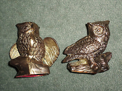 Vintage Set of Two Brass Owl Paperweights Decorative Figurines, 4.5