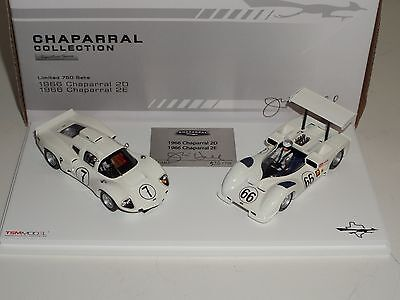 1 43 True Scale Tsm 1966 Chaparral 2D And 2E Signed By Jim Hall Two Car Set