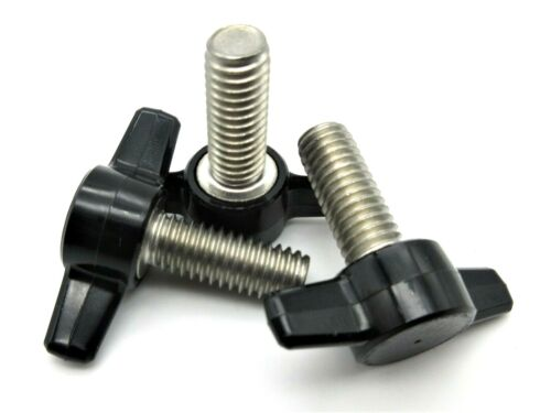 "3/8"" X 1"" Thumb Screws Tee Wing Bolt  HD Delrin Head  SS thread  3 per package"
