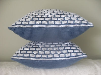 "Set Two Hand Knit 16x16""  Throw PILLOWS  INSERT INCLUDED *by Katy S.*"