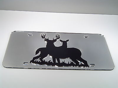Mirrored Acrylic License Plate - BUCK AND DOE#2 MIRRORED ACRYLIC LASER CUT LICENSE  PLATE CHROME HUNTING INLAID