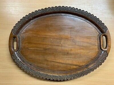 ANTIQUE ASIAN ORNATE CARVED WOODEN TRAY ON TWO FIXED SUPPORTS 15.75