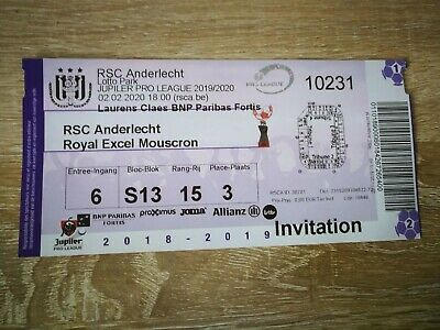 Ticket : RSC Anderlecht - Mouscron 02.02.2020