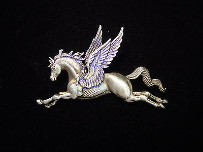 Jj  Jonette Jewelry Silver Pewter Majestic Pegasus Pin Flying Horse