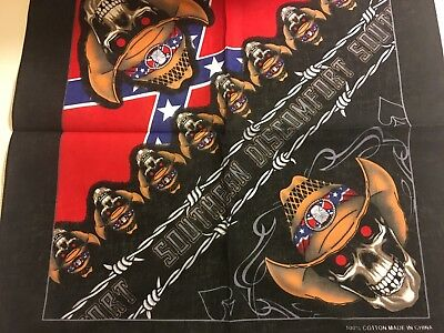SOUTHERN DISCOMFORT Barded Wire with Cowboys Red Eyes Skulls Print Bandana   (Cowboy Bandanas)