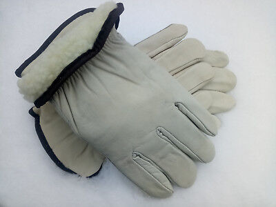 6 Pairs Mens Work Gloves Size Lg Fleece Lined Heavy Insulation Winter Leather