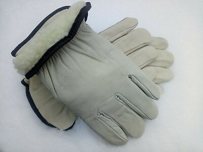 2 Pairs Mens Leather Work Gloves Size Lg 100 Gram Thinsulate Lined For Winter