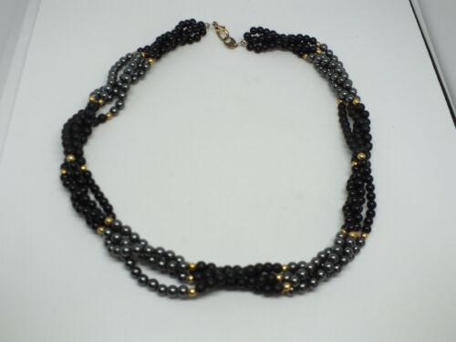 Beautiful Necklace Choker Gold Tone Black Gray Matte Shiny Braided Beads NICE