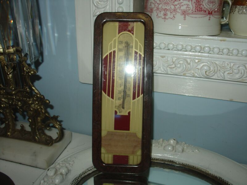 Vintage Art Deco Advertising Thermometer Metal & Glass