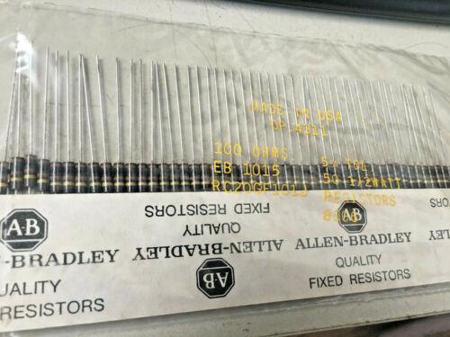 Lot of 50 Allen-Bradley 1/2-watt 100-ohm Resistors RC20GF101J 5% NOS 100Ω 0.5W