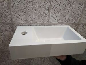 Bathroom Rectangle Counter Top Vanity Wash Basin Sink White Ceramic 400mm