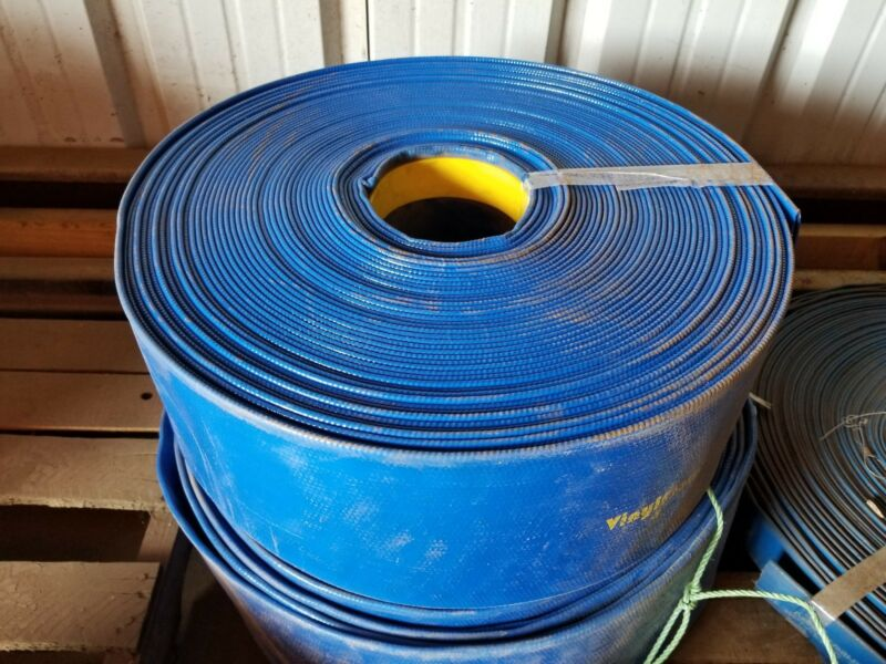 "BLUE PVC LAY FLAT DISCHARGE HOSE 8"" ID X 300"
