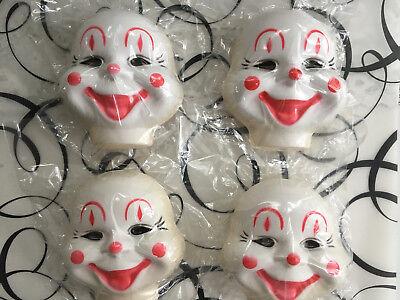 "DARICE Vintage Clown Plastic Faces Craft Supplies LOT of 4 NOS Hong Kong 4"""
