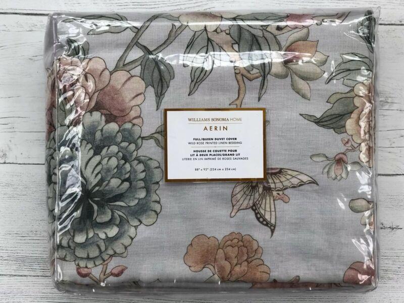 William Sonoma Home AERIN Wild Rose Print Linen Duvet Cover Full/Queen Dove Blue