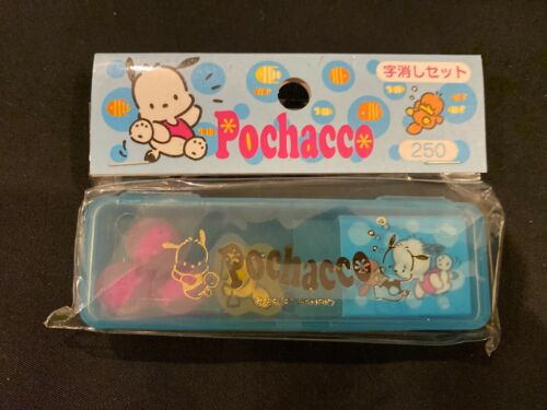Vintage Sanrio Pochacco Erasers in a Plastic Container 1989, 1997 - New