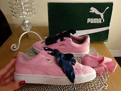 PUMA BASKET HEART TRAINERS LADIES YOUTH GIRLS SIZE UK5 EU38 GENUINE