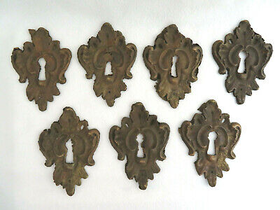 - 7 Piece Antique Brass Skeleton Keyhole Escutcheons Furniture Trim Hardware
