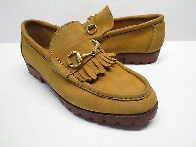 Men's Vintage Gucci 111 6027 Brown Suede Leather Horsebit Kiltie Loafers size 43