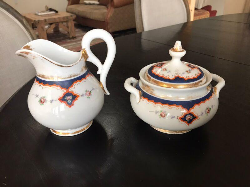 Antique Old Paris Porcelain Cream And Sugar Bowl