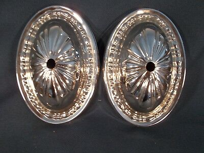 - Pair of Embossed Polished Nickle over Brass Sconce Backplates 6&1/8in tall