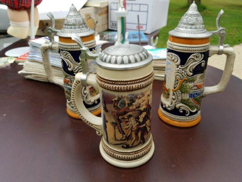 Lot of 3 German Lidded Beer Steins & Stein Bank Gerz Oktoberfest Munchen 1835