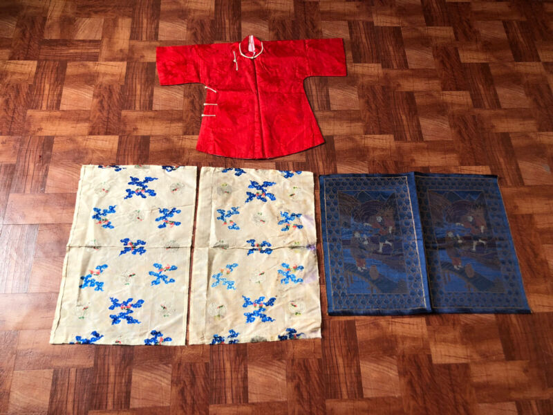 Lot Of Antique Chinese Embroidery Gauze Silk Textiles, Childs Robe, Brocade Silk
