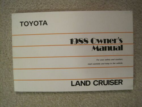 1988 TOYOTA LAND CRUISER ORIGINAL OWNERS MANUAL FOR GLOVE BOX