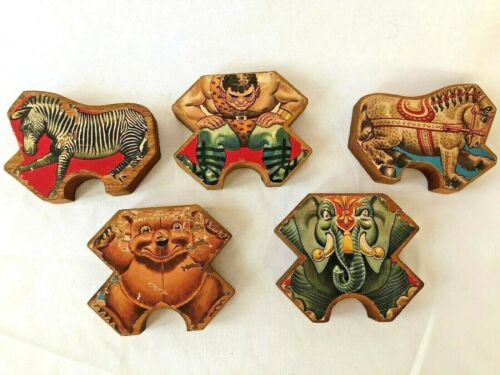 5 Antique Wood Shaped Circus Blocks Lithograph 2 sided Animals Strong Man Wooden