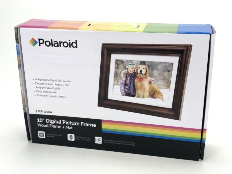 """NEW Polaroid 10"""" Digital Picture Frame  Wood + Mat PDF-1050W"""