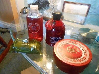 The body shop lot x4 strawberry frosted berry shower gel cranberry body butter o