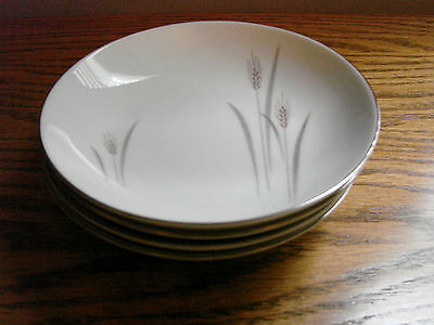 Max Schonfeld PLATINUM WHEAT Pattern Fine China Japan Set 4 BERRY Dessert BOWLS