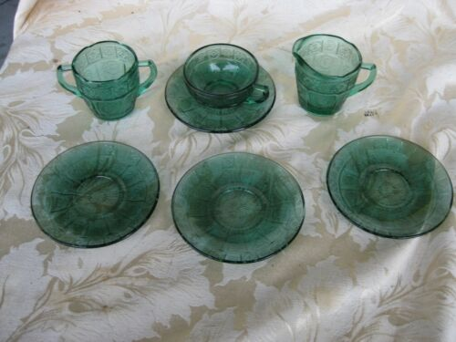 Great Lot of Childs Doric & Pansy Ultamarine Sugar & Creamer & Cup & 4 Saucers