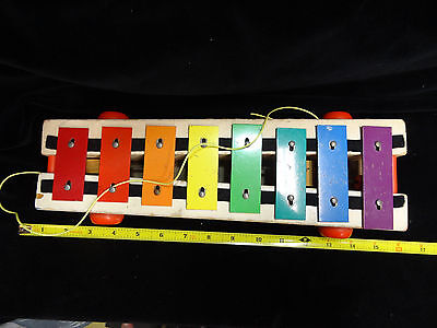"""Vintage 1964 FISHER PRICE Wooden """"PULL-A-TUNE"""" XYLOPHONE Toy #870"""