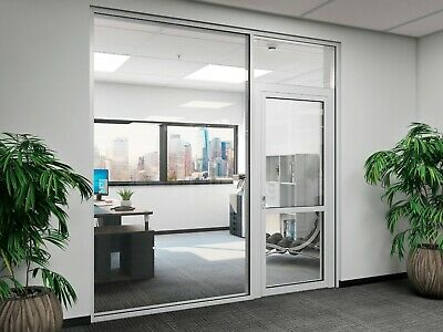 Cgp Office Partition System Glass Aluminum Wall 14 X 9 W Door Clear Anodized
