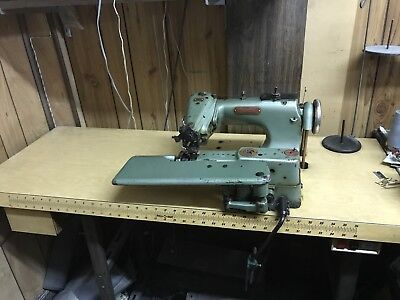 Lewis Union Special 150-2 Blind Stitch Hemmer Sewing Machine With Motor Table
