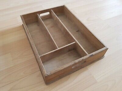 Vintage Wood Cutlery Tray / Draw Insert Storage Dovetail Joints beech wood side