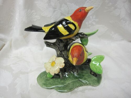 """HTF 8"""" STANGL POTTERY DOUBLE WESTERN TANAGER #3750D BIRD FIGURINE VINTAGE"""