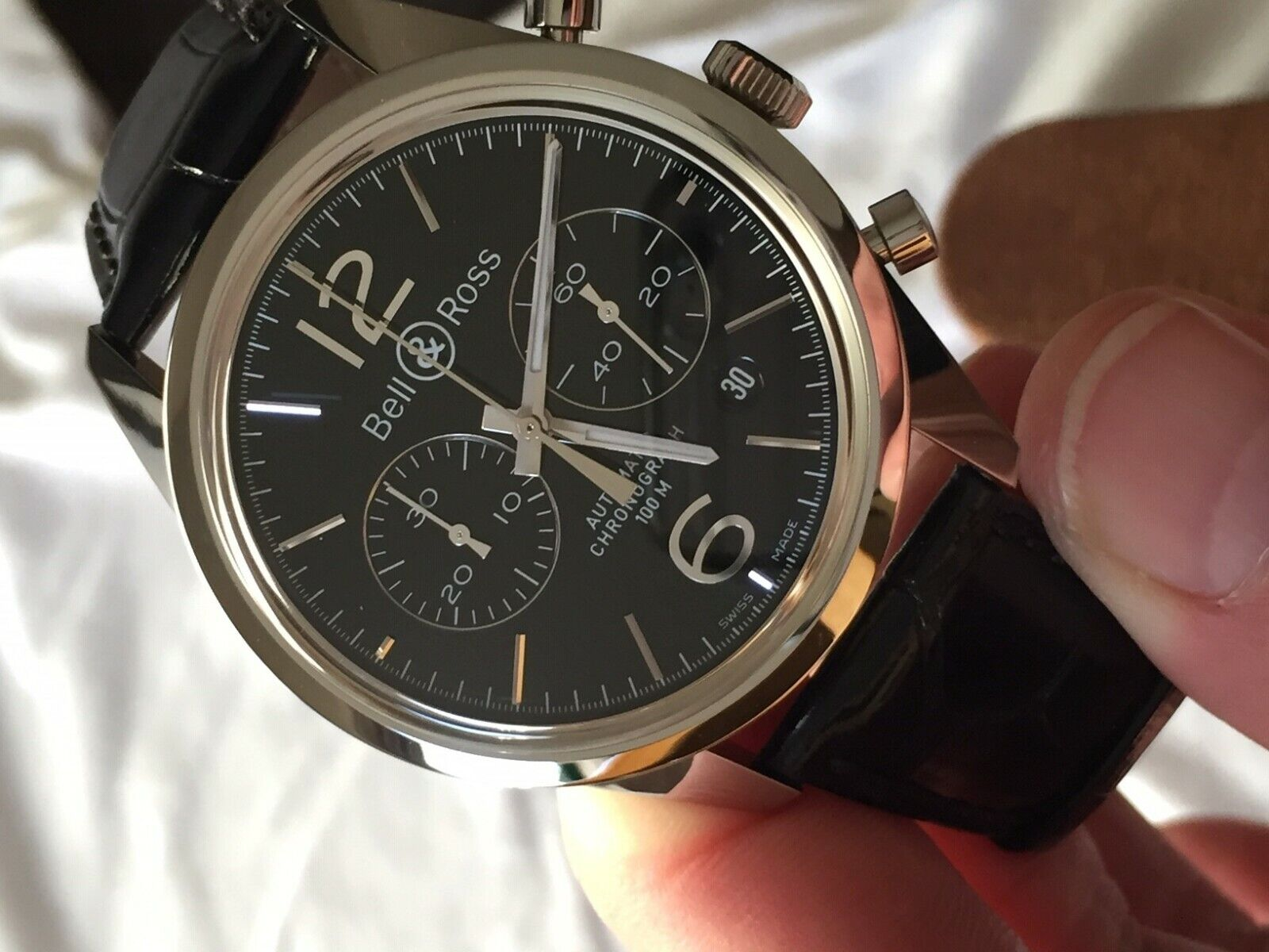 Bell & Ross Vintage Original Black Chronograph BR126-94-SS Automatic Men's Watch - watch picture 1