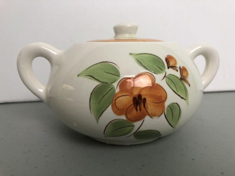 Stangl Pottery Bittersweet Sugar Bowl & Lid Redware Orange Band Flowers Vintage