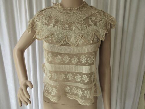 EXQUISITE ANTIQUE VALENCIENNES LACE & FRENCH EMBROIDERED LAWN BLOUSE/TOP...S/M..