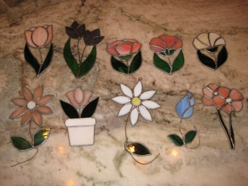 10 vintage leaded stained glass suncatchers flowers daisies tulip rose