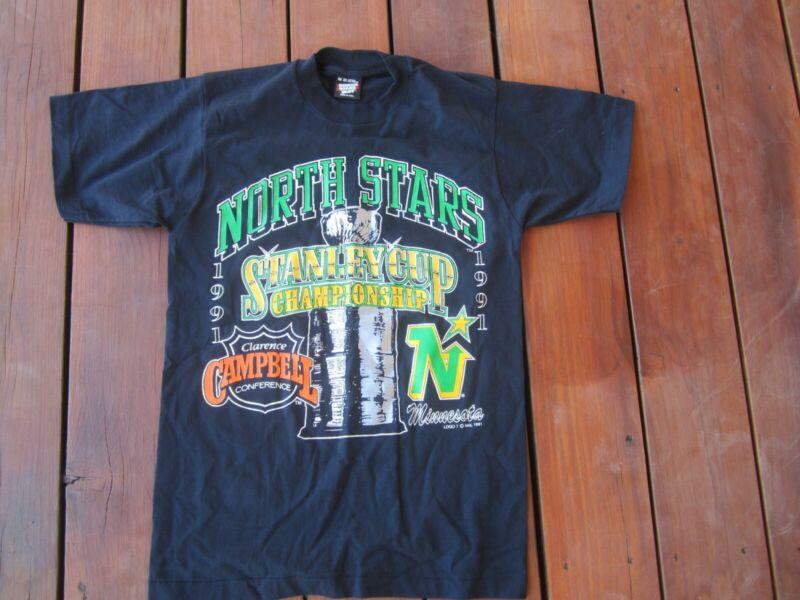 VINTAGE 1991 MINNESOTA NORTH STARS STANLEY CUP HOCKEY T SHIRT MEDIUM
