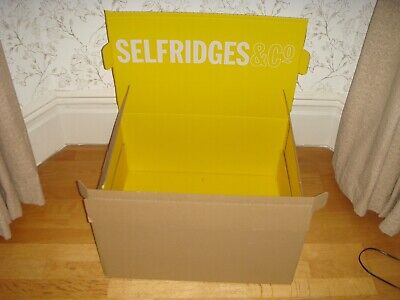Large Selfridges & Co Cardboard Box Yellow Interior and White Logo