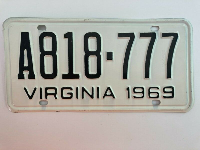 1969 Virginia License Plate 777 MINT/NOS Nice!! All Original