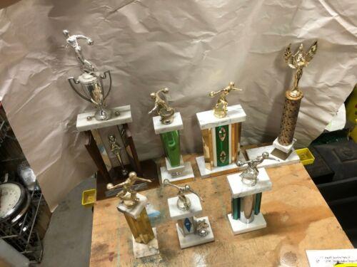 (7) vintage mens marble bowling trophies