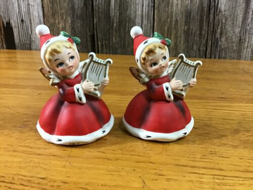 Pair sweet Napcoware Christmas girl figurines with harps