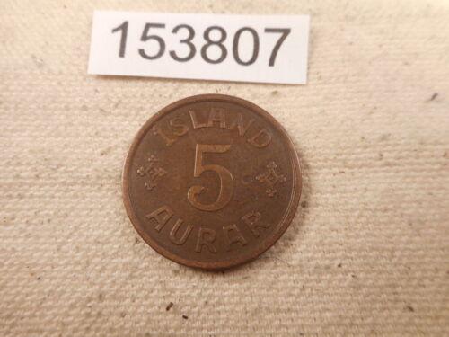 1931 N GJ Iceland 5 Aurar Nice Early Date Collector Raw Album Coin  - # 153807